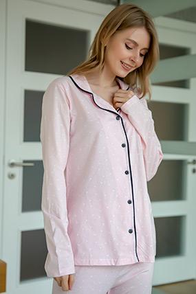 Kalp Desenli Düğmeli Pijama Takımı-41035109919