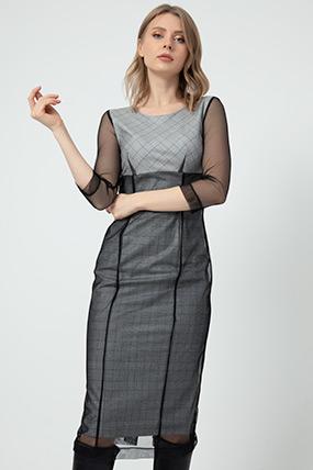 Tül Detaylı Elbise-41035115027