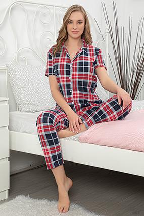 Ekose Düğmeli Pijama Takımı-41035115678
