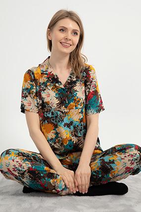 Desenli Düğmeli Pijama Takımı-41035115763
