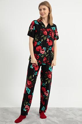 Çiçek Baskılı Pijama Takımı-41035115843