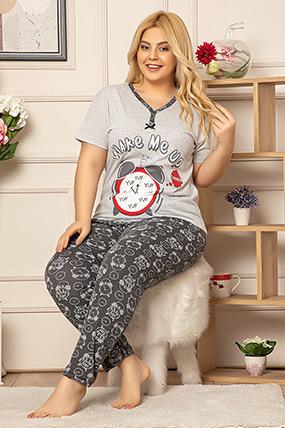 Baskılı Büyük Beden Pijama Takımı-41035116785