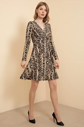 Kruvaze Yaka Kısa Elbise-41035122359