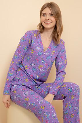 Çiçek Desenli Pijama Takımı-41035122701