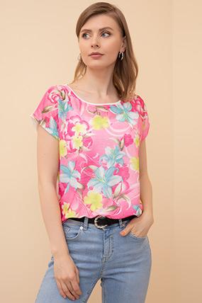 Çiçek Desenli T-shirt-41035145540