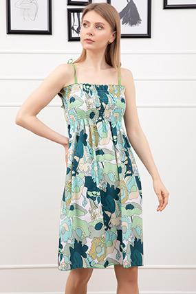 Desenli İp Askılı Elbise-41035145944