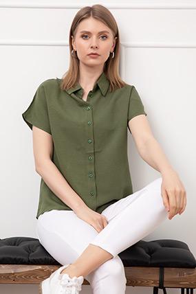 Yakalı Yarasa Kol Gömlek-41035146165