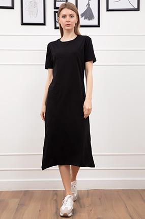 Sıfır Yaka Yırtmaçlı Elbise-41035146379