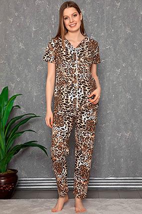 Kısa Kol Düğmeli Pijama Takımı-41035146602
