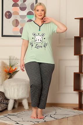 Baskılı Kısa Kol Pijama Takımı-41035085440