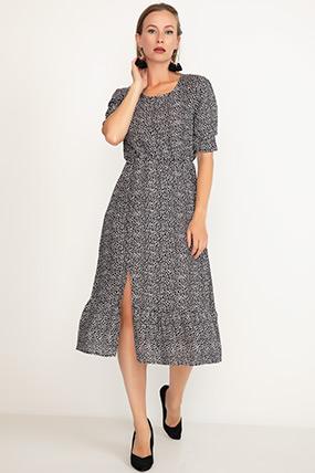 Yırtmaçlı Kısa Kol Elbise-41035095695