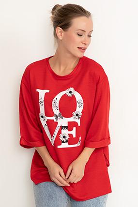 Love Baskılı Yırtmaçlı T-shirt-41035098996