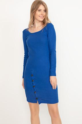 Kare Yaka Düğmeli Elbise-41035101160