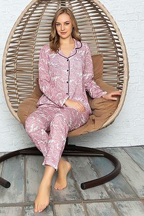 Desenli Düğmeli Pijama Takımı-41035109937