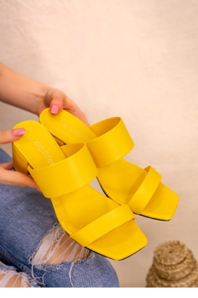 Asper Sarı Cilt Topuklu Terlik-12212