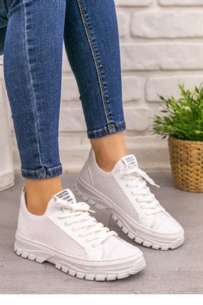Kami Beyaz Cilt Streç Bağcıklı Spor Ayakkabı-12205