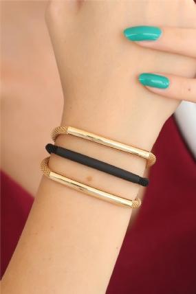 Gold Siyah Renk Metal Çoklu Bayan Bileklik-BB2526