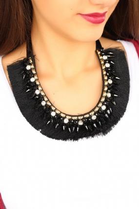 Siyah Püskül Tasarımlı Bayan Yaka Kolye-BKO1659
