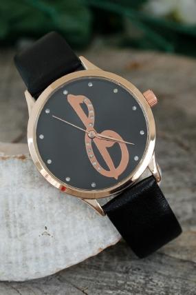 Elif Vav Tasarımlı Siyah Renk Deri Kordonlu Bayan Saat-BS1193