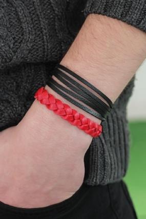 Siyah Kırmızı Deri Erkek Bileklik Kombin-30932
