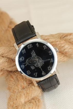 Siyah Deri Kordonlu Silver Renk Metal Kasa Osmanlı Tuğralı Erkek Saat-ES1387-KS