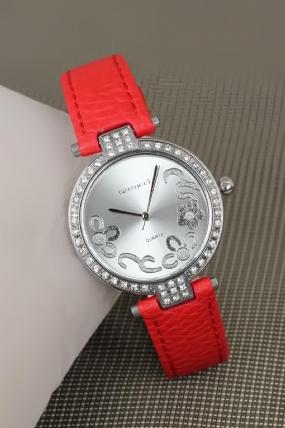 2 Yıl Garantili Ferrucci Kırmızı Renk Deri Kordonlu Silver Zirkon Taşlı Kasa Bayan Kol Saati-LBS325