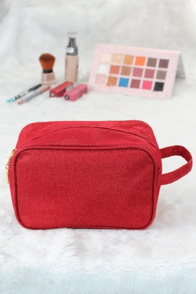Simli Kırmızı Renk Kare Form Makyaj Çantası-MCN751-KS