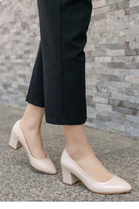 Lehisa Krem Rugan Topuklu Ayakkabı-6705