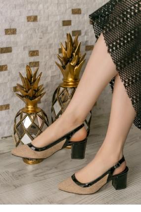 Janet Siyah Rugan Hasır Detaylı Topuklu Ayakkabı-6747
