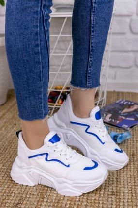 Vira Beyaz Cilt Fileli Mavi Detaylı Spor Ayakkabı-8846