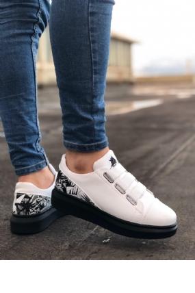 ER0029 3 Bant Legend Beyaz Desenli Kalın Siyah Taban Casual Erkek Ayakkabı-8067