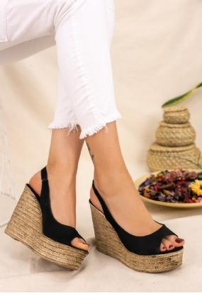 Sary Siyah Süet Dolgu Topuk Sandalet-9650