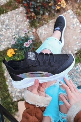 Crid Siyah Cilt Bağcıklı Spor Ayakkabı-12615