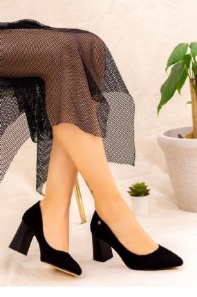Reni Siyah Süet Topuklu Ayakkabı-10771