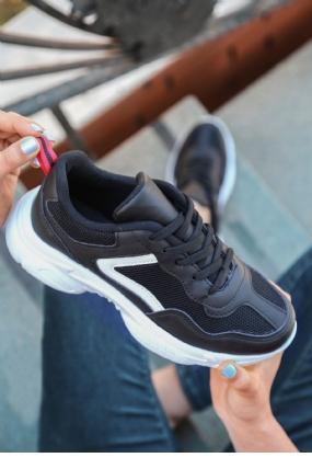 Jomox Siyah Cilt Beyaz Detaylı Spor Ayakkabı-12016