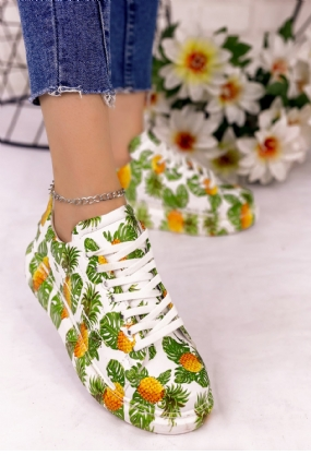 Maxsi Beyaz Cilt Yeşil Detaylı Spor Ayakkabı-8762