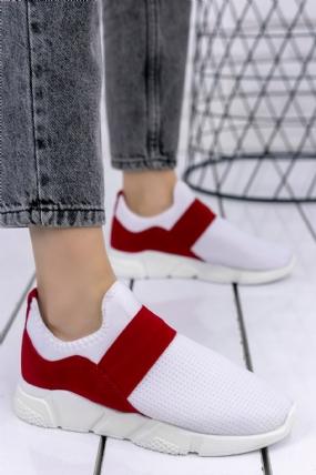 Petri Beyaz Streç Kırmızı Detaylı Spor Ayakkabı-6726