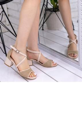 Sherry Krem Hasır Rugan  Detaylı Topuklu Ayakkabı-6716