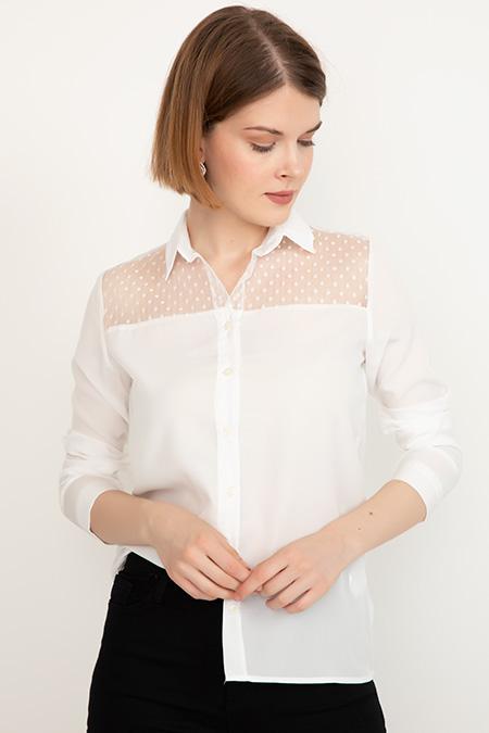 Dantel Detaylı Gömlek-41035077899