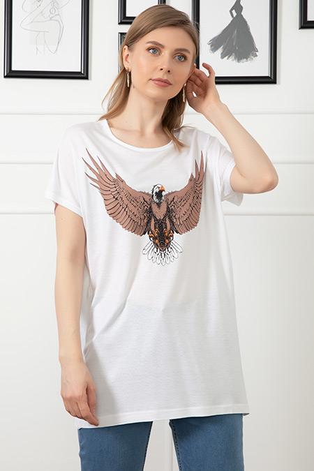 Baskılı Sıfır Yaka T-shirt-41035136230