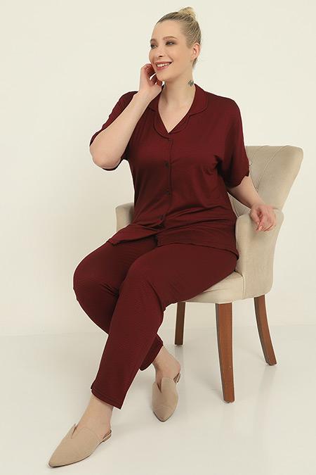 Büyük Beden Desenli Pijama Takımı-41035138483