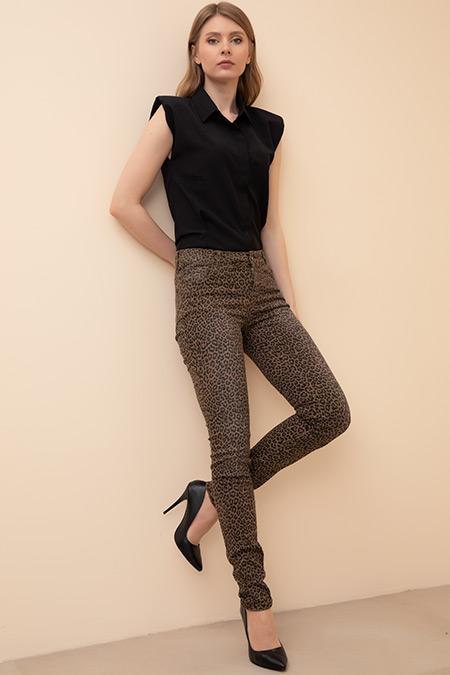 Leopar Desenli Klasik Pantolon-41035142914