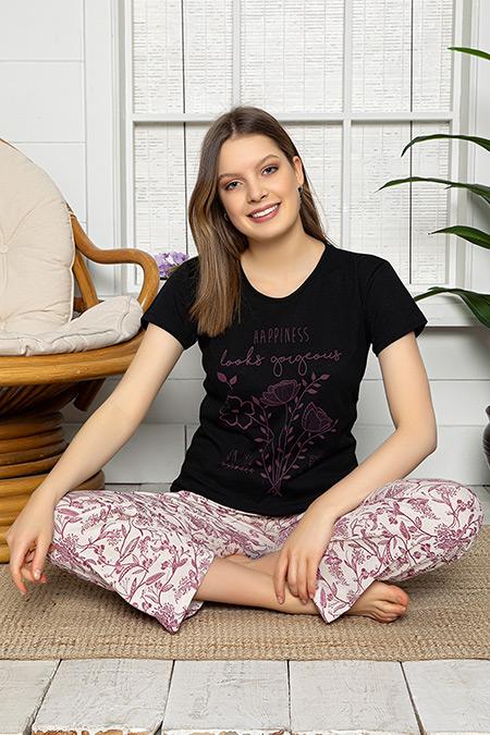 Baskılı Kısa Kol Pijama Takımı-41035146838
