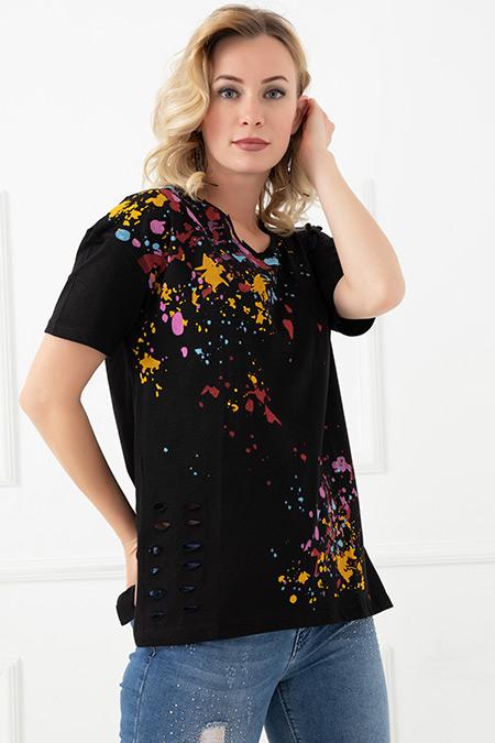 Yırtık Baskılı T-shirt-5587643108