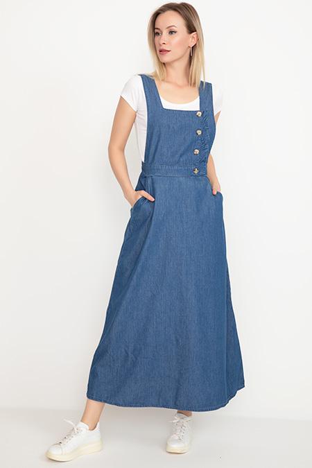 Askılı Kot Elbise-41035038462