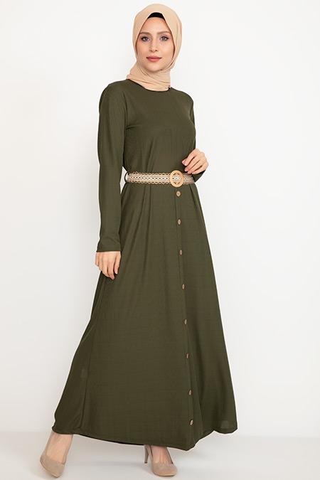 Etek Düğmeli Kemerli Elbise-41035039850
