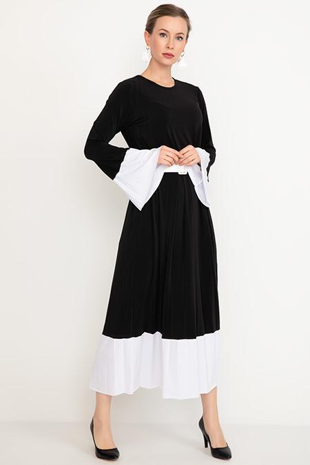 Kemerli Piliseli Elbise-41035039946