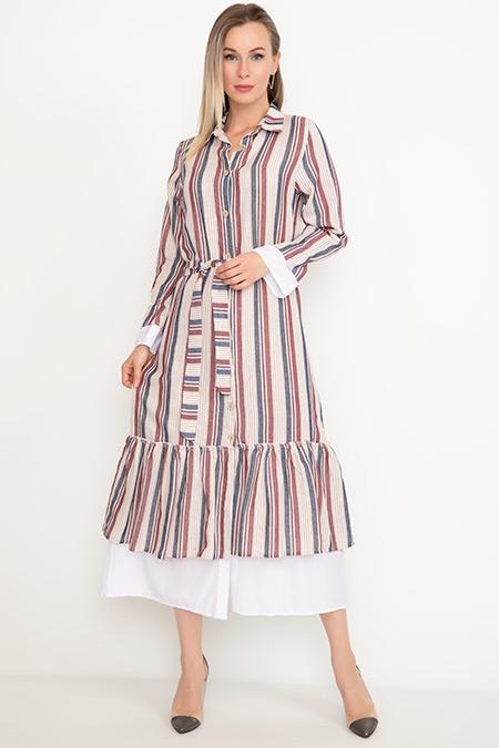 İnce Çizgili Garnili Elbise-41035041215