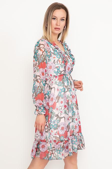 Bel Lastikli Şifon Elbise-41035069164