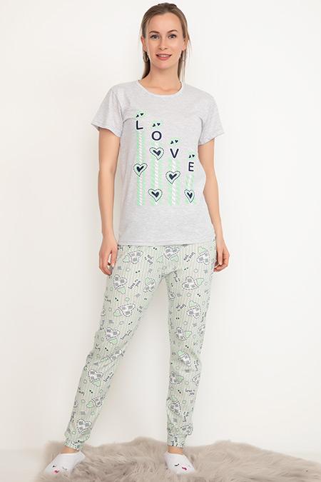 Kısa Kol Pijama Takımı-41035073064